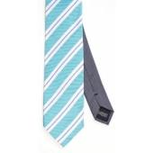 Stropdas Turquoise met blauwe en witte streep