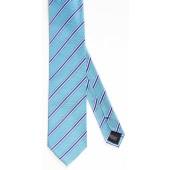 Stropdas Aqua met fijn blauwe streep