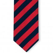 Stropdas Marineblauw-Rood gestreept
