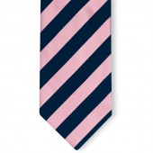 Stropdas Marineblauw-Roze gestreept