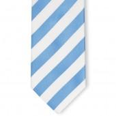 Stropdas Lichtblauw-Wit gestreept