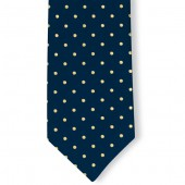 Stropdas Marineblauw met Gele stippen