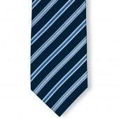Stropdas Marineblauw-Blauw dubbel gestreept